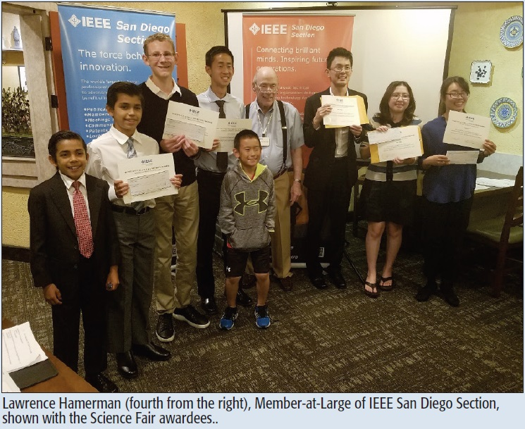 Lawrence Hamerman (fourth from the right), Member-at-Large of IEEE San Diego Section, shown with the Science Fair awardees..