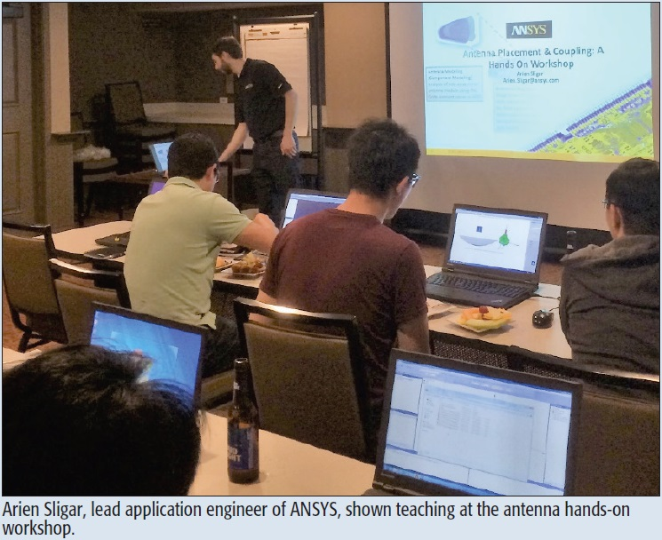 Arien Sligar, lead application engineer of ANSYS, shown teaching at the antenna hands-on workshop.