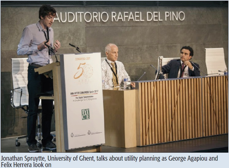 Jonathan Spruytte, University of Ghent, talks about utility planning as George Agapiou and Felix Herrera look on