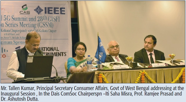 Mr. Tallen Kumar, Principal Secretary Consumer Affairs, Govt of West Bengal addressing at the Inaugural Session , In the Dais ComSoc Chairperspn –Iti Saha Misra, Prof. Ramjee Prasad and Dr. Ashutosh Dutta.